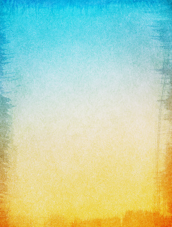 brushstrokes: A textured paper background with a blue to yellow gradient.  Image displays a ragged edge border, and a strong grain pattern at 100 percent.
