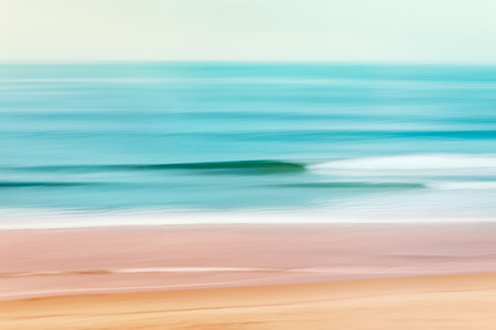 A tranquil seascape of the Pacific ocean off of California.  Image made using camera panning motion combined with a long expsure. Banque d'images