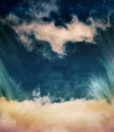 distinct: Yellow clouds and fog looking up into a fantasy night sky with stars.  Image has a distinct and pleasing paper grain and texture when viewed at 100 percent.