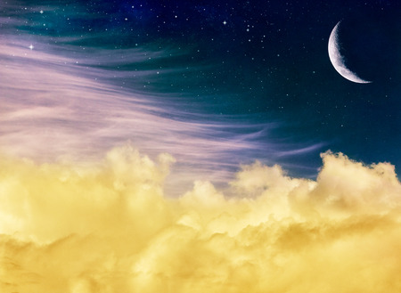 distinct: Soft yellow and pink clouds with a crescent moon and stars at night.  This fantasy Image displays a distinct but pleasing paper grain and texture at 100 percent for added depth. Stock Photo