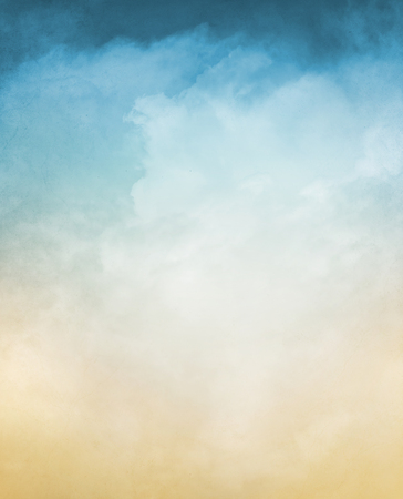 blue background: An abstraction of fog and clouds on a textured background with a pastel color gradient.  Image displays a distinct grain and texture at 100 percent. Stock Photo