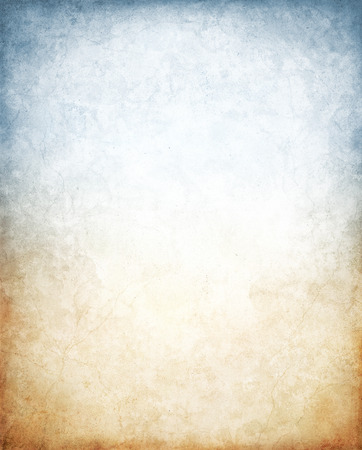 Old vintage paper with a glowing center and vignette.  Image features a brown to blue color gradient and a distinct paper grain and texture at 100 percent. Stock Photo