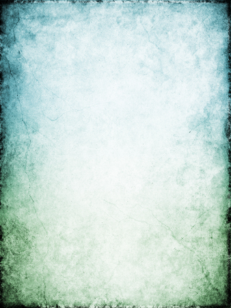 grunge border: Cracks and stains on a heavily textured vintage paper background.  Image displays a green to blue color gradient.