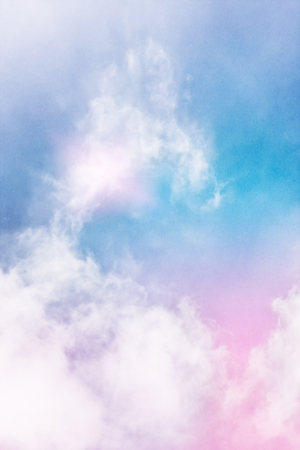 wispy: Wispy clouds and fog with a glowing light effect and a pink to blue color gradient.  Image displays a pleasing paper grain and texture at 100 percent.