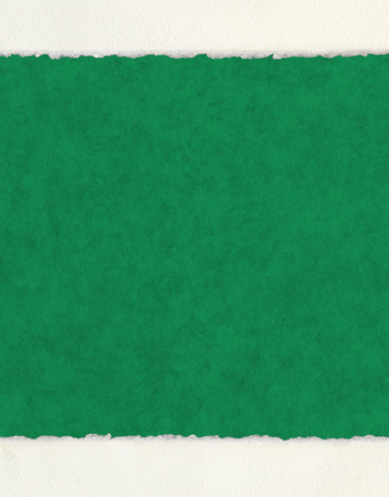 edge: A textured green paper background with deckled watercolor paper borders.