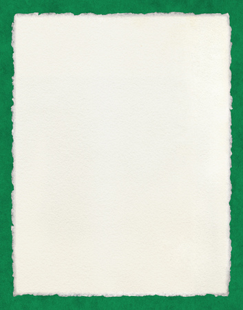 Watercolor paper with true deckled edges on a green background. Stock Photo