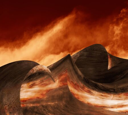 Waves of solid metal with fire clouds on a fantasy alien landscape.