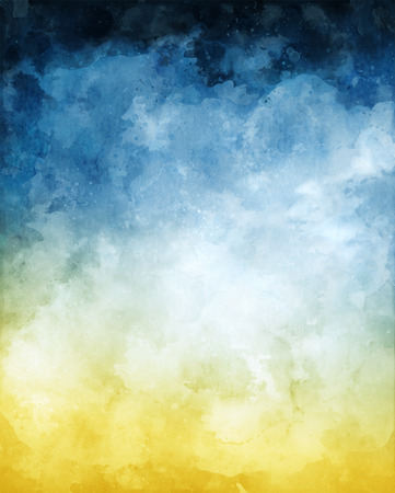 A watercolor abstraction of clouds and fog on a textured paper background and toned with a blue to yellow gradient.  Image displays a paper texture at 100%. Imagens