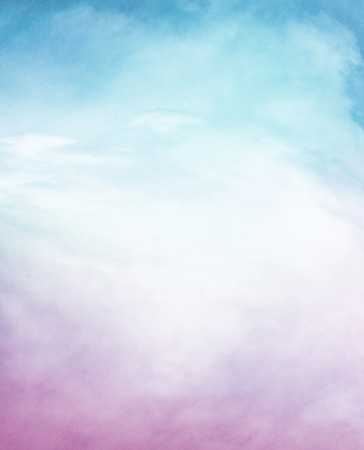 An abstraction of clouds and fog on a textured background with a purple to blue gradient.  Image displays a distinct paper grain and texture at 100 percent.