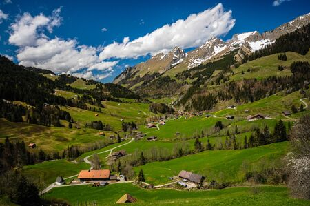 medow: wonderful idyllic valley in Switzerland with blue sky and white clouds in the alps Stock Photo