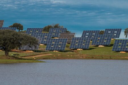 collector: collector, solar plant on field