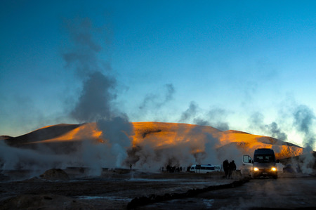 geyser gush spring steam El Tatio Chile