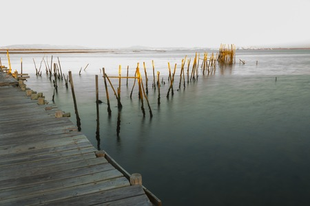 wooden boats Carrasqueira ancient fishing port at river sado Alentejo Portugal