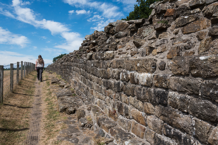 stone wall Hadrians Wall in england great britain