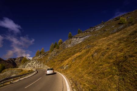 Grossglockner High Alpine Road, Austria, Oct. 2018, Car on the Großglockner High Alpine Road, Hohe Tauern National Park