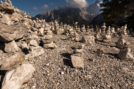 Vrsic pass with Cairns and Triglav Mountains in Triglav National Park, Tolmin, Slovenia, Europe