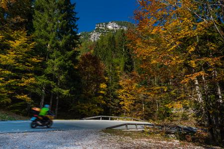 Nationalpark Triglav, Tolmin, Goriska, Slowenien, Europa, Oct. 2018, Motorcycle in autumnal colorful national park