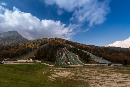 ski jump Nordic centre, Planica , Slowenien, Europa, Oct. 2018, Nordijski center Planica skakalnica in autumn Stock Photo