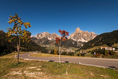 blue sky in autumn in Alta Batia, Abbey High, Dolomites, South Tyrol, Italy