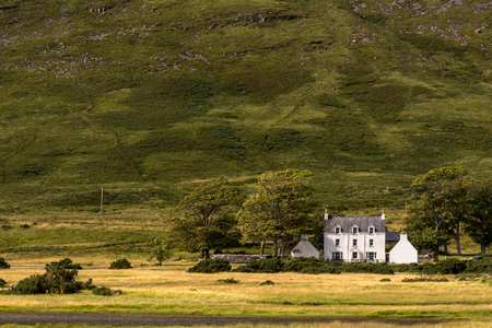 Typical landscape with houses and pastures on the Gaelic peninsula Applecross, Strathcarron, Inner Hebrides, Scotland, UK