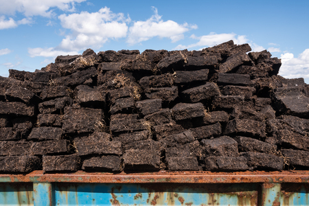 freshly cut fields of peat or turf from Scottish raised bog, peat removal, Durness, Scottish Highlands, Scotland, United Kingdom Reklamní fotografie