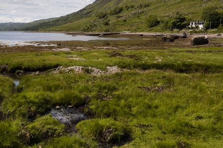 Typical landscape with coast and pastures on the Gaelic peninsula Applecross, Strathcarron, Inner Hebrides, Scotland, UK