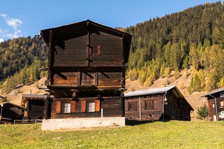 Wooden houses in Ritzingen, Walliserhaus, mountain farm, municipality Goms, canton Valais, Bernese Oberland Switzerland