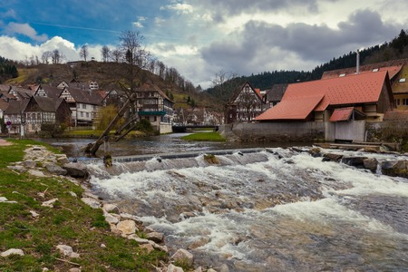 Beautuful Schiltach in Black Forest, River Kinzig, Rottweil, Baden Wuerttemberg, Germany Stock Photo