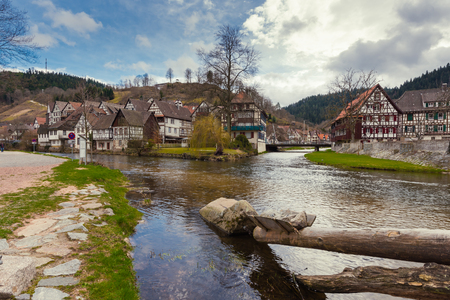 Beautuful Schiltach in Black Forest, River Kinzig, Rottweil, Baden Wuerttemberg, Germany Stock Photo - 122190099