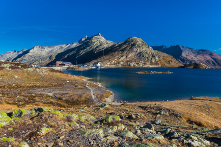 Totensee at the summit of the Grimsel Pass, cantonal border, view of the Valais Alps, canton of Valais, Bernese Oberland, Switzerland