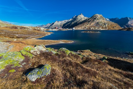Totensee at the summit of the Grimsel Pass, cantonal border, view of the Valais Alps, canton of Valais, Bernese Oberland, Switzerland Stock Photo - 122190116