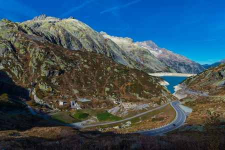 Totensee at the summit of the Grimsel Pass, cantonal border, view of the Valais Alps, canton of Valais, Bernese Oberland, Switzerland Stock Photo - 122190118
