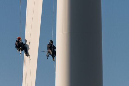 Repair at the wind turbine, climbing, workers, Schleswig-Holstein, Germany
