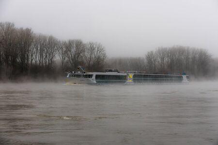 Morning fog on the Rhine river, excursion boat, near Karlsruhe, Baden-Wuerttemberg, Germany, Europe