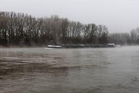 Morning fog on the Rhine, Great Rhine ship, near Karlsruhe, Baden-Wuerttemberg, Germany, Europe