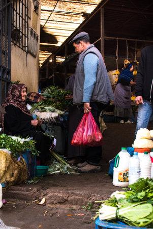 Alisha, Morocco - jan. 2020: local woman at the souk market in Alisha