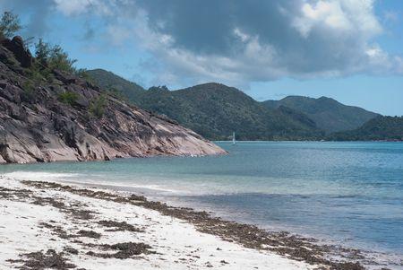 Beautiful beach Anse Matelot Praslin island, Seychelles Stock Photo