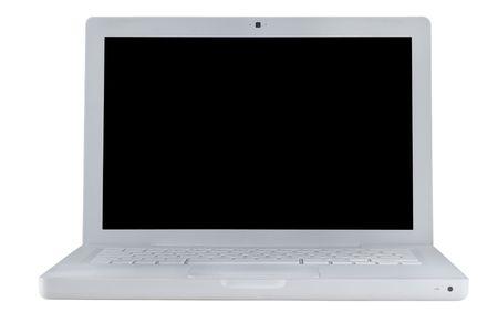 White modern laptop isolated on white backrund.  photo