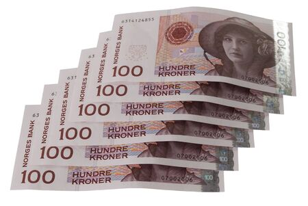 Close-ups of 100, NOK Norwegian crones paper bank notes isolated over white background Stock Photo