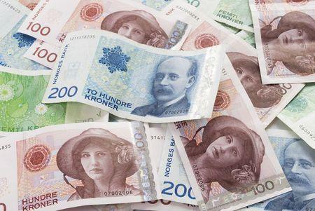 Close-ups  of 50, 100, 200 NOK Norwegian crones paper bank notes  Stock Photo