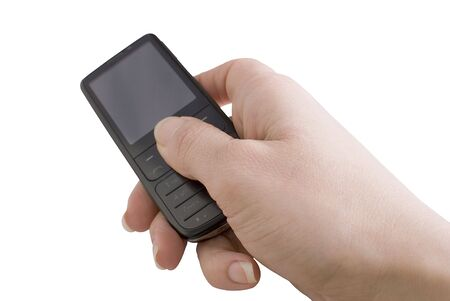 Modern mobile phone in a woman
