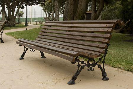 Park Wooden Bench. Canary Island. Fuerteventura. Spain Stock Photo