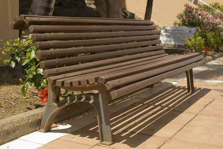 Park Wooden Bench. Canary Island. Fuerteventura. Spain.