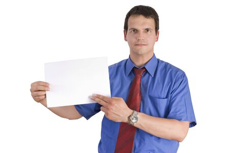 Businessman holding or showing a blank paper, isolated on white background.