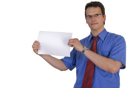 Businessman holding or showing a blank paper , isolated on white background. photo