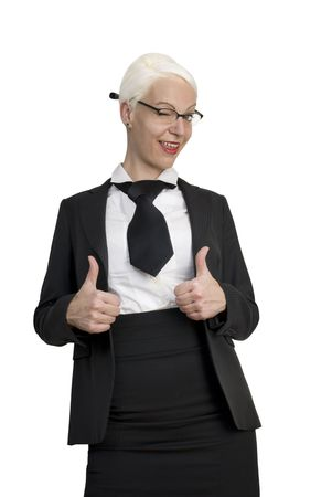 Portrait of successful young business woman showing thumbs up. Isolated over white background.  Stock Photo