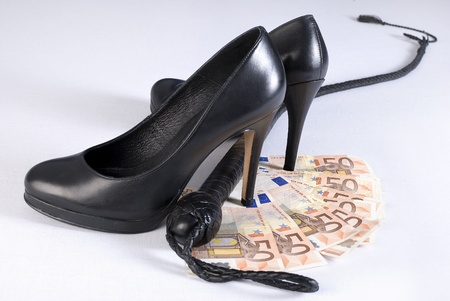 flogging: Black Single Tail whip, high heels shoes and money on white background. Not isolated.