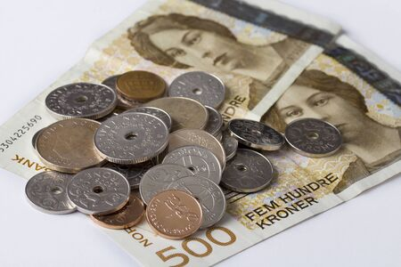 Norwegian five hundred crones paper banknotes