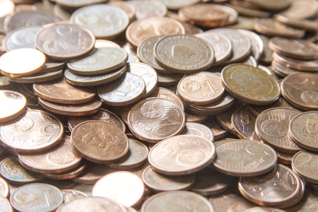Euro coins money (EUR), currency of European Union useful as a background Stock Photo