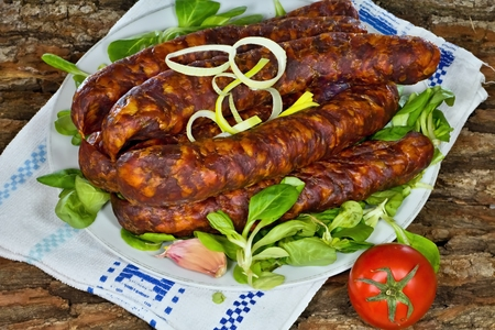 meaty: Smoked home sausages with seasoned salad.